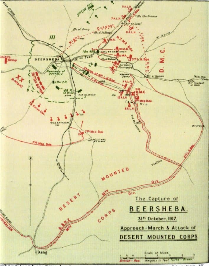 Falls Sketch Map Beersheb aapproach marches and attack 31 October 1917