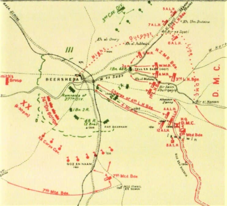 Falls Sketch Map Deployments and attacks on the town of Beersheba 31 October 1917